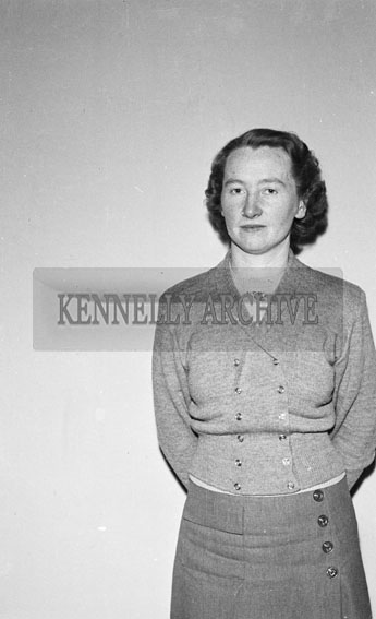 1956; A woman poses for the camera at the studio in Tralee.