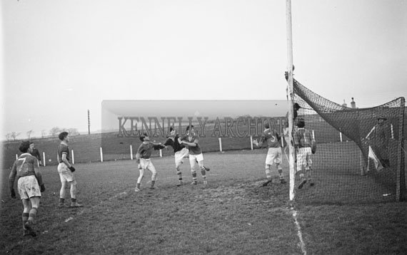 November 1956; An action photo taken at a Munster Colleges Football match which took place at the Fitzgerald's Stadium in Killarney.