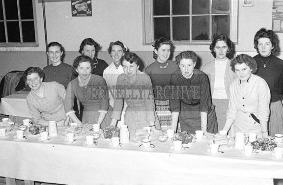 November 1956; A group of women suuply tea at the Macra na Feirme Presentations.