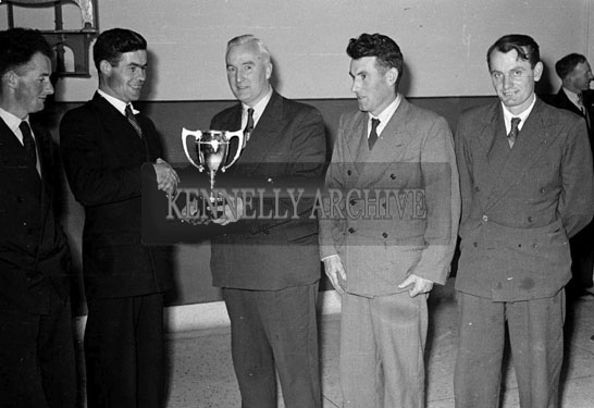 November 1956; A photo taken during the presentation of the Macra Cup.