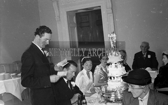 3rd April 1956; A photo taken at the Parker/Mangan Wedding which took place at Lixnaw Church followed by the reception at the Great Southern Hotel in Killarney. The bridesmaid is Collette Fuller nee Mangan, sister of the bride.