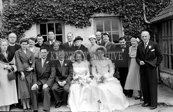 4th April 1956; A photo taken at the Johnson/Brennan Wedding which took place at St. Catherine's Church followed by the reception in the Meadowlands Hotel in Tralee.