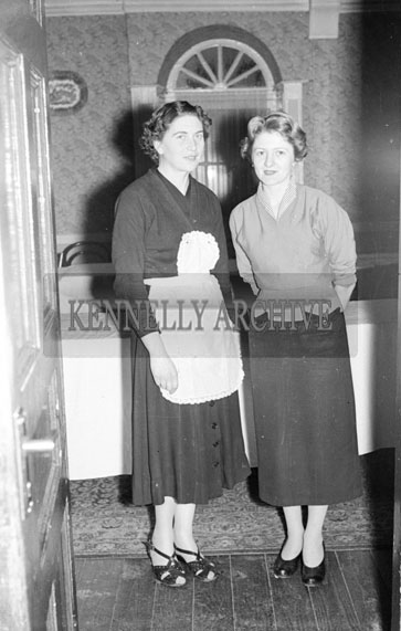 December 1956; Two women at a social which took place at the Meadowlands Hotel in Tralee.