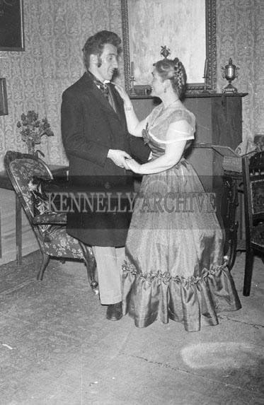 April 1956; A photo taken of Ricky Johnson and co-star during production of the play 'The Heiress' by the Johnson Players from Tralee.
