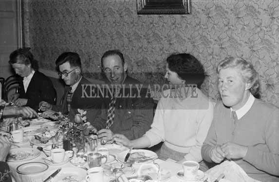 December 1956; People enjoying themselves at a social at the Meadowlands Hotel in Tralee.