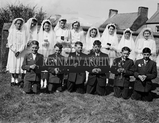 16th April 1956; A group photo taken on Confirmation Day in Ballinskelligs.