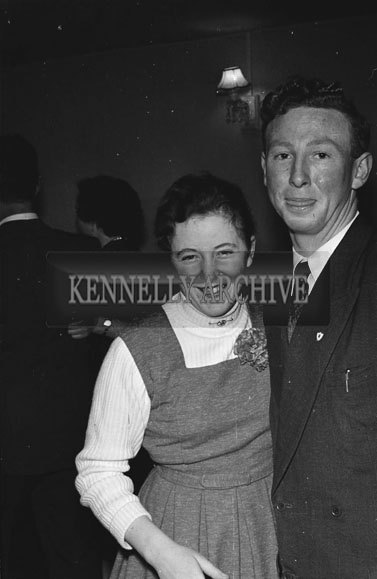 16th January 1957;  A photo of people enjoying themselves at the Spa/Churchill Macra na Feirme Social in the Meadowlands Hotel, Tralee.