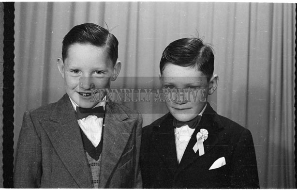 May 1956; A communion photo taken of two boys at the studio in Tralee.