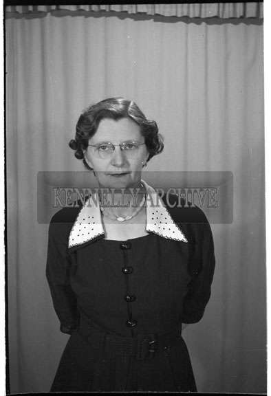 June 1956; A photo of a woman taken at the studio in tralee.