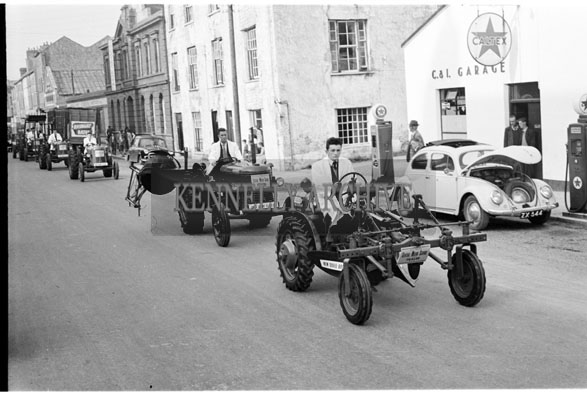 29th May 1956; A line of tractors at the Kingdom County Fair Parade in Tralee.
