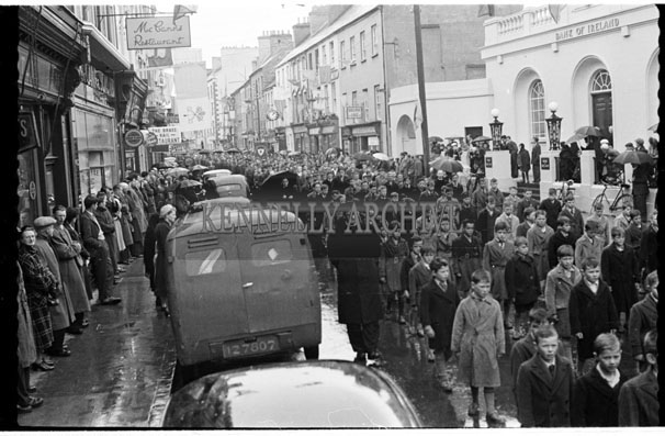 May 1956; The Corpus Christi procession in Tralee which was eventually cancelled at the Dominican Church due to rain.