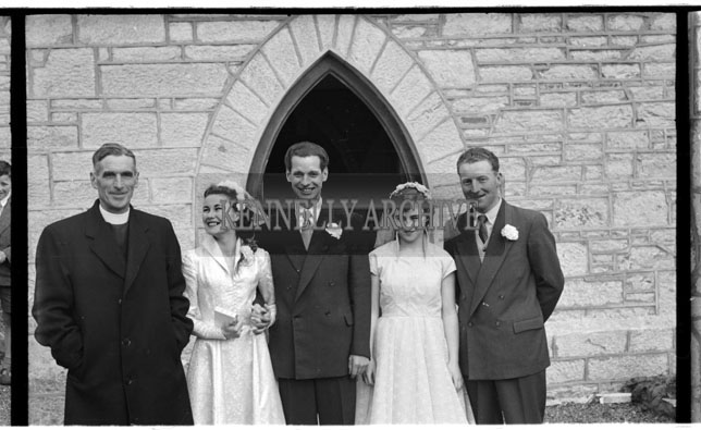 1956; A photo taken at a wedding which took place at St Catherine's Church in Tralee.