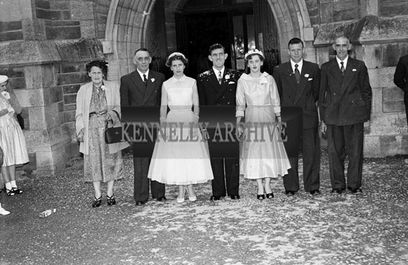 1956; A photo taken at the Locke/Sheehy Wedding which was held at St. John's Church and was followed by the reception at the Grand Hotel in Tralee.