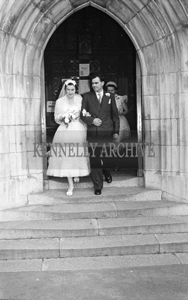 1956; A photo taken at the Horan/Queally Wedding which took place at the Cathedral and was followed by the reception at the Lake Hotel in Killarney.