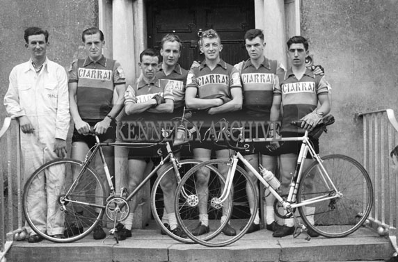 10th August 1956; Cyclists who competed in the Rás Tailteann pose for the camera before the race leaves Tralee.