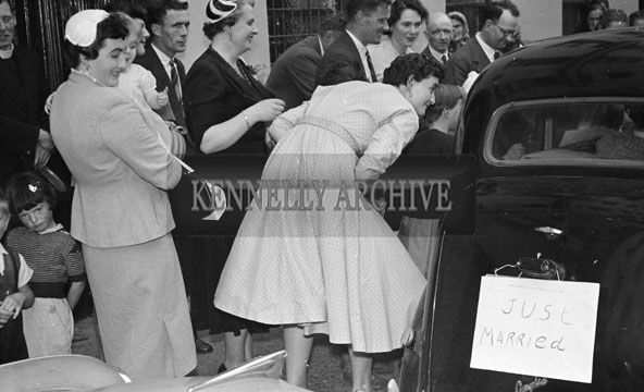 1956; A photo taken at the Benners/Milword Wedding which took place in Tralee and was followed by the reception in Benners Hotel.