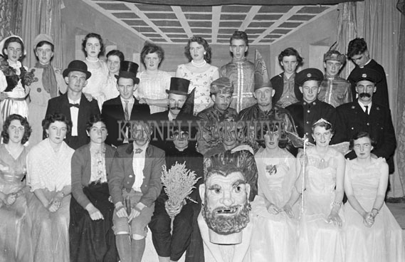 1956; A photo taken during the performance of the play 'Deirdre and Seven Corkmen' by the Abbeydorney Dramatic Society.