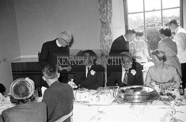 May 1957; A photograph taken at the wedding reception of Mr Pat Rohan and Miss Ina Moore in The Great Southern Hotel, Killarney.