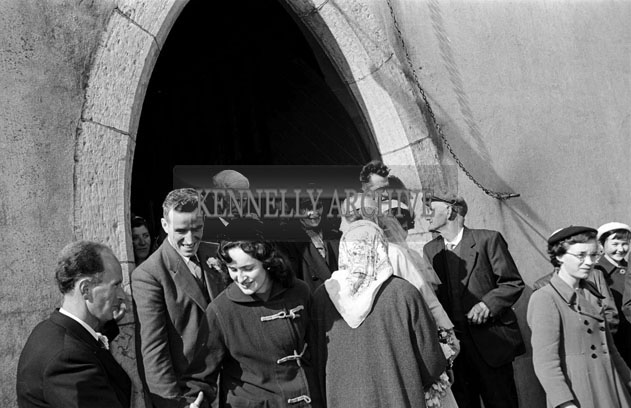 May 1957; A photograph taken outside St Mary's Church, Castlegregory, at the wedding of Mr Pat Rohan and Miss Ina Moore.