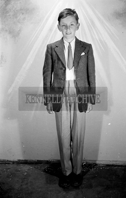May 1957; A photo of a confirmation boy, taken in the studio.