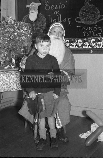 December 1957; A photo of a Santa visit to St Brendan's National School near Abbeyfeale.