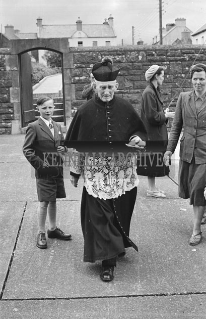 6th May 1957; A photo of Canon Lyne on confirmation day in Dingle.