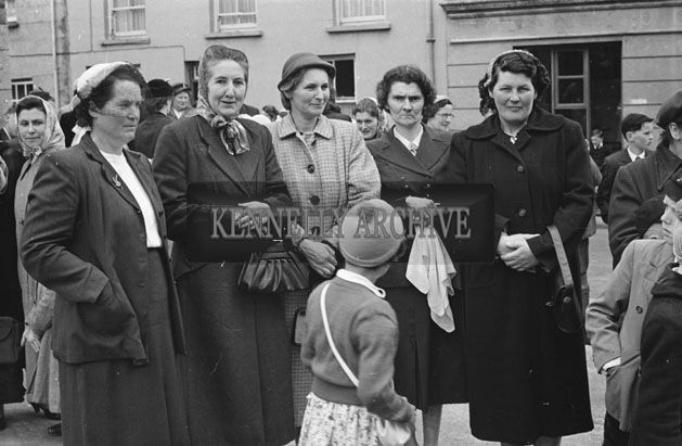 6th May 1957; A photo of a group of women on confirmation day in Dingle.