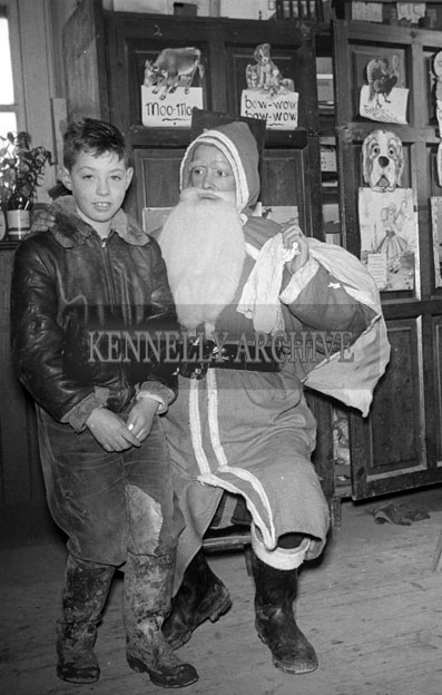 December 1957; A photo taken with Santa at Meenkilly National School.