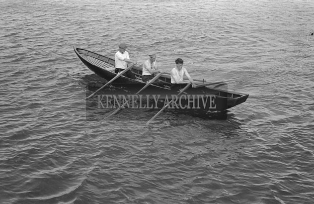 24th May 1957; A currach Race at the Fenit Regatta.