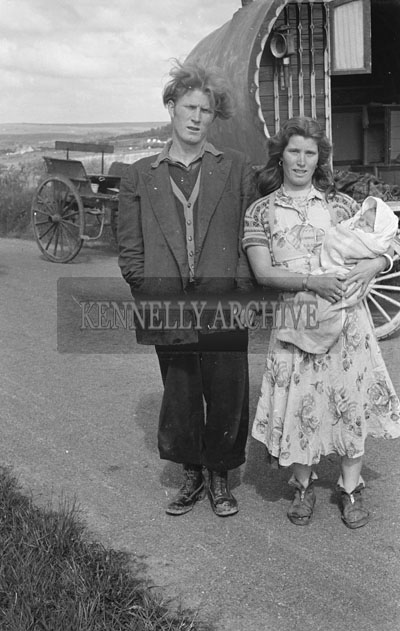 May 1957; A photo of a traveller family.