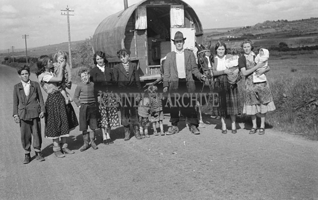 May 1957; A photo of travellers and their caravans.