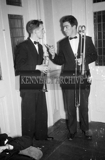 27th December 1957; Two members of Denis Cronin's Band photographed at Tralee Rugby Club Dress Dance in The Great Southern Hotel, Killarney.