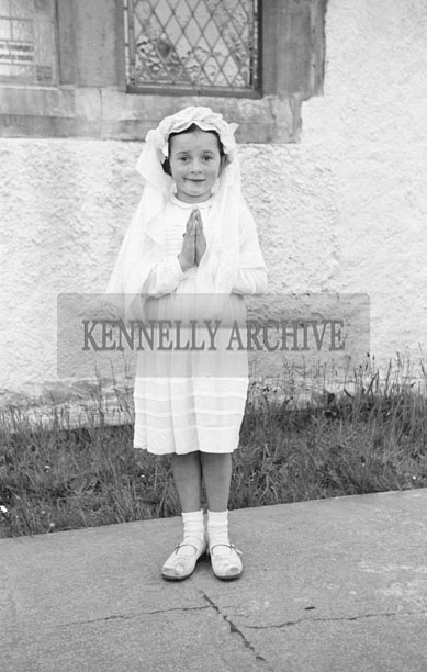 May 1957; A photo taken on First Holy Communion Day in Knocknagoshel.
