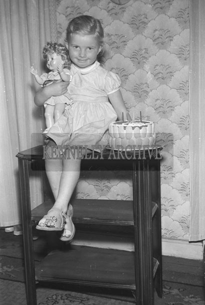 May 1957; A photo of Miss O'Connor, Rock Street, Tralee, at her birthday party at home.