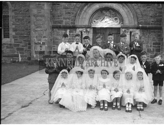 June 1957; A photo taken on First Holy Communion Day in Lixnaw.