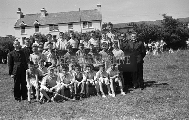 June 1957; A group of Irish students pose for the camera in Ballingeary Irish College.