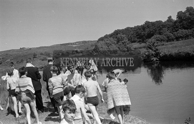 June 1957; A group of Irish students go for a swim in Ballingeary Irish College.