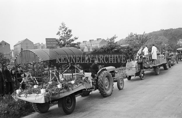 18th June 1957; A photo of a float in the Tralee Trade Show Parade during the Kingdom County Fair.