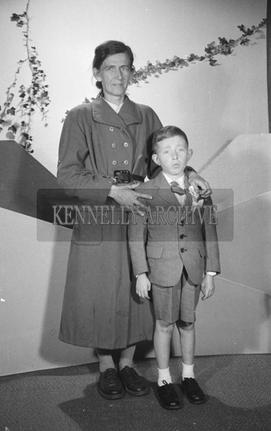 June 1957; A studio Communion photo of Tony Fitzgerald with his mother.