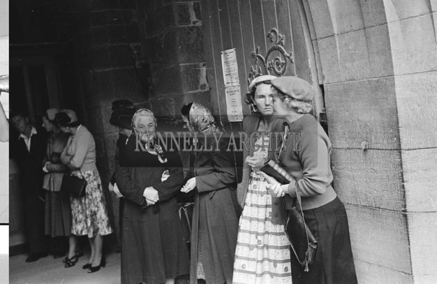 June 1957; A photo taken at the Fitzgerald/O'Brien wedding in St. John's Church, Tralee.