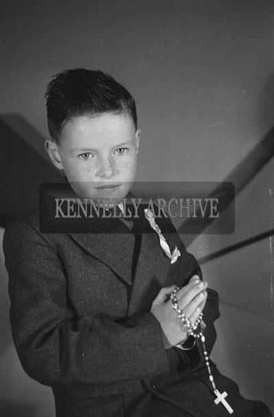June 1957; A studio communion photo of the Brosnan boy, Castlegregory.