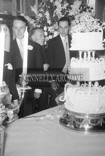 July 1957; A photo taken at the wedding of Lady Caroline Wyndham Quin to the Marquis of Waterford in Adare Manor.