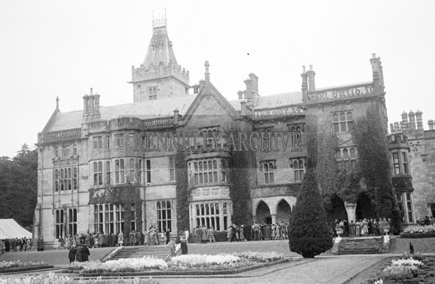 July 1957; A photo of Adare Manor on the wedding day of Lady Caroline Wyndham Quin, younger daughter of the Earl of Dunraven, to the Marquis of Waterford.