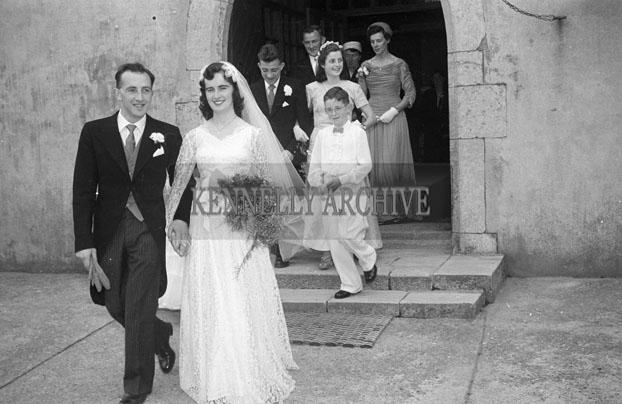 August 1957; A photo taken at the wedding of Mena Deane to publican Joe Sullivan, Ardfert, in St. Mary's Church, Castlegregory.