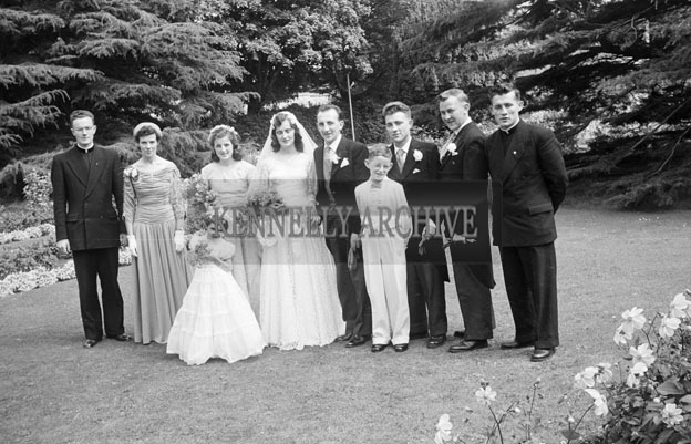 August 1957; A photo taken at the wedding reception of Mena Deane to publican Joe Sullivan, Ardfert, in the Great Southern Hotel, Killarney.