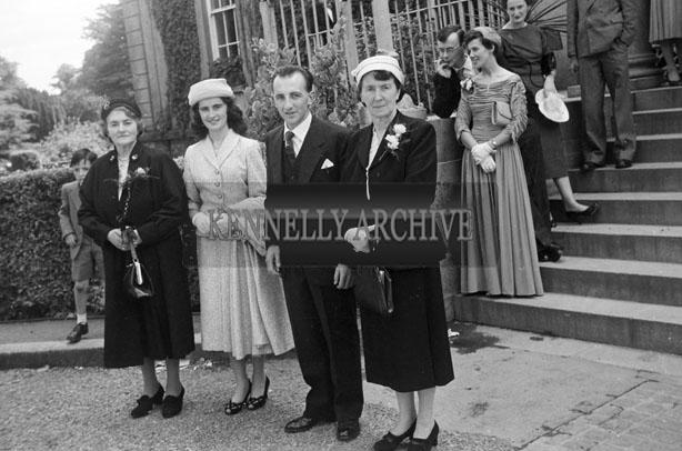 August 1957; A photo taken at the wedding reception of Mena Deane to publican Joe Sullivan, Ardfert, in the Great Southern Hotel, Killarney.