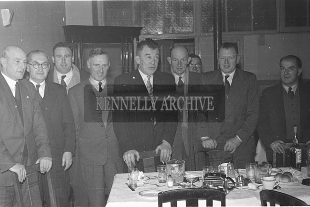 February 1957; A photo of Kerry County Councillors including Frank Sheehy (5th From The Left) at a meeting.