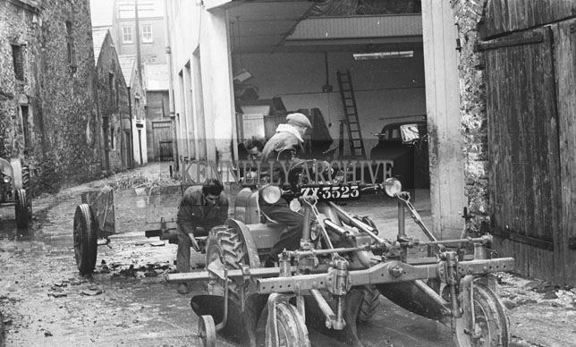 February 1957; A photo of Peter Kennelly, Ballylongford, at Blennerhassett's Garage, Boherbee, Tralee, with his new David Brown Tractor.