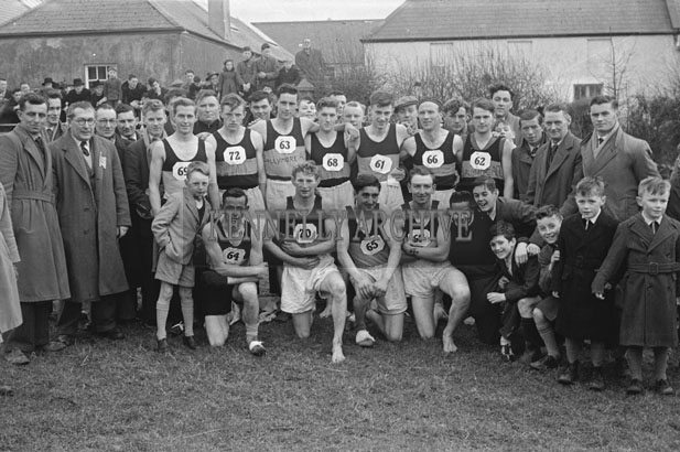 10th February 1957; A photo of the teams before the Munster Championship cross-country race in Mounthawk, Tralee.