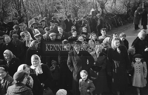 11th February 1957; A photo taken at the ceremony to lay the foundation for the new Church at Currow by Bishop Moynihan.
